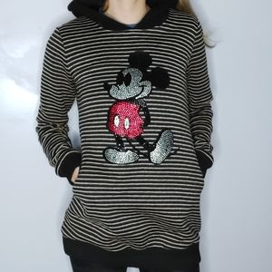 Mickey Mouse Jeweled Striped Hoodie Long Length
